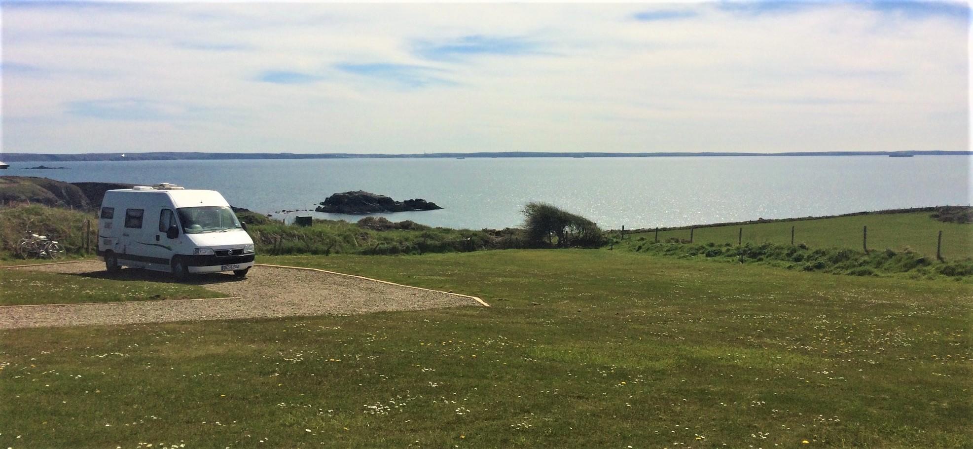 Pitch A5, camping field at Caerfai Bay